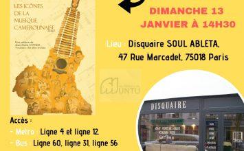 Présentation du livre : » Les icônes de la Musique Camerounaise » chez le disquaire SOUL ABLETA